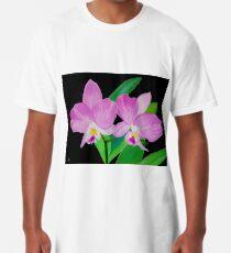 Rosa Blumen In Schwarz Longshirt