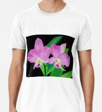 Rosa Blumen In Schwarz Männer Premium T-Shirts