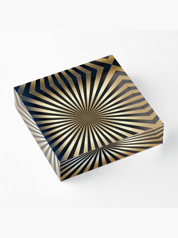 Alternative Ansicht von Zoom, Gold, Schwarz, Streifen, Diagonale, trendy, modern, elegant, chic, Muster Acrylblock