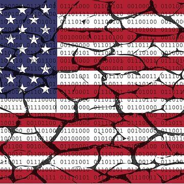 Distress Binary Text American Flag by joehx