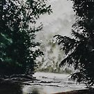 Original watercolor of a misty mountain stream by Bryan Duddles