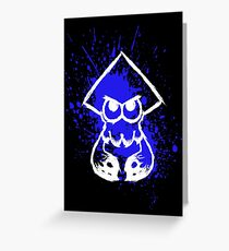 Splatoon White Squid on Blue Splatter Greeting Card