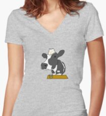 Don't tip the cow Women's Fitted V-Neck T-Shirt