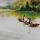Original watercolor painting of geese in a pond by Bryan Duddles
