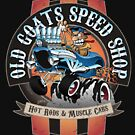 Old Goats Speed Shop Vintage Car Sign Cartoon by hobrath