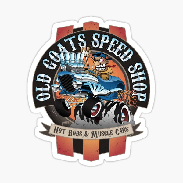 Old Goats Speed Shop Vintage Car Sign Cartoon Sticker