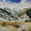 Original watercolor painting of Pikes Peak foothills by Bryan Duddles