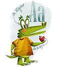 A ist für Alligator mit einem Apfel von Niharika Singh