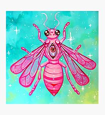 Pink Bee - Acrylic Painting Photographic Print