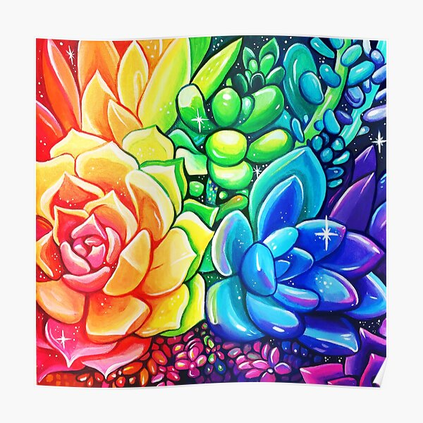 Rainbow Succulents - Acrylic Painting Poster