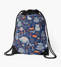 Fairy forest with animals and birds. Raccoons, owls, bunnies and little chick. Drawstring Bag
