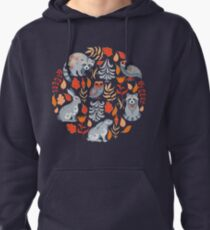 Fairy forest with animals and birds. Raccoons, owls, bunnies and little chick. Pullover Hoodie