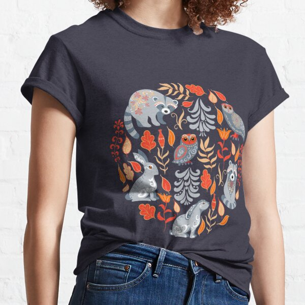 Fairy forest with animals and birds. Raccoons, owls, bunnies and little chick. Classic T-Shirt