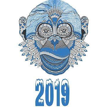 NEW YEAR'S Eve Blue Monkey Arts by AbdelaaliKamoun
