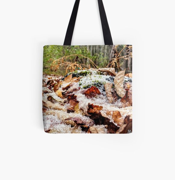 snow on the fallen leaves All Over Print Tote Bag