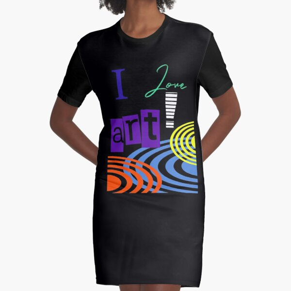 i LOVE ART RETRO GRAPHIC DESIGN BY JANE HOLLOWAY  Graphic T-Shirt Dress