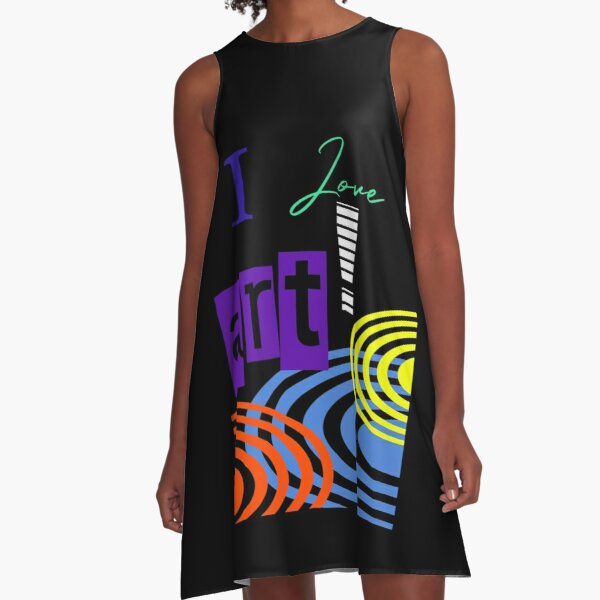 i LOVE ART RETRO GRAPHIC DESIGN BY JANE HOLLOWAY  A-Line Dress