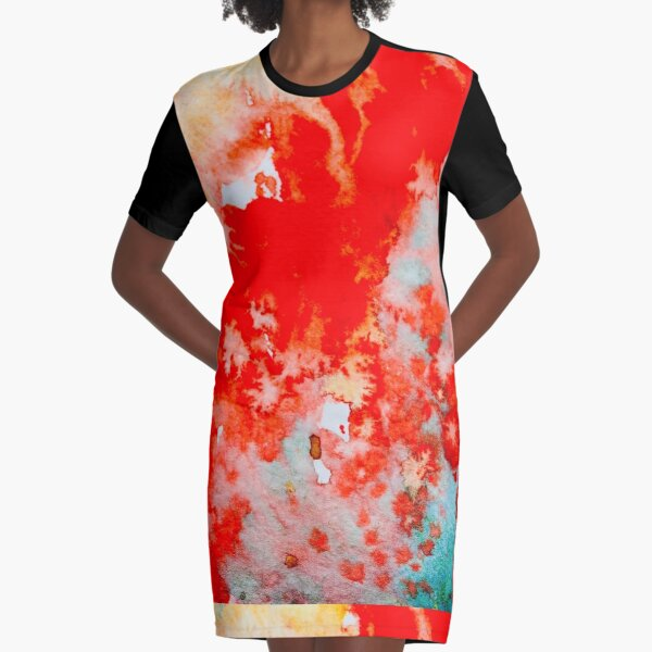 Abstract: Scarlet and Teal Graphic T-Shirt Dress