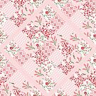 Soft and pretty pink floral patchwork squares by thatsgraphic