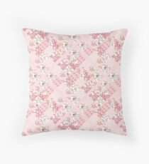 Soft and pretty pink floral patchwork squares Floor Pillow