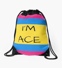 Panromantic Flag Asexual I'm Ace Asexual T-Shirt Drawstring Bag