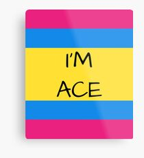 Panromantic Flag Asexual I'm Ace Asexual T-Shirt Metal Print