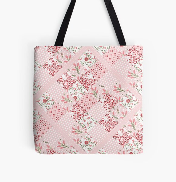 Soft and pretty pink floral patchwork squares pattern All Over Print Tote Bag