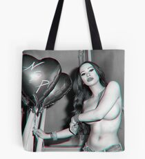 """Erotic Implied Nude Photography  - """"Sexy Nude Asian Girl with Red Hair with Red Heart Balloons  in Black & White - Modern Pinup"""" Featuring The Beautiful Model Yuni Kaye  Tote Bag"""