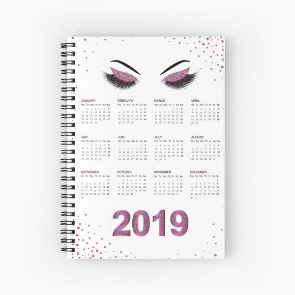 Peitschen mit Kalenderillustration des Burgunder-Funkelnmake-up 2019 Spiralblock