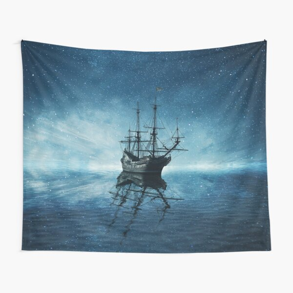 ghost ship under starry sky Tapestry