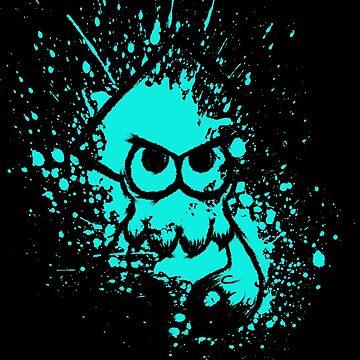 Splatoon Black Squid on Cyan Splatter Mask by Ironmoth