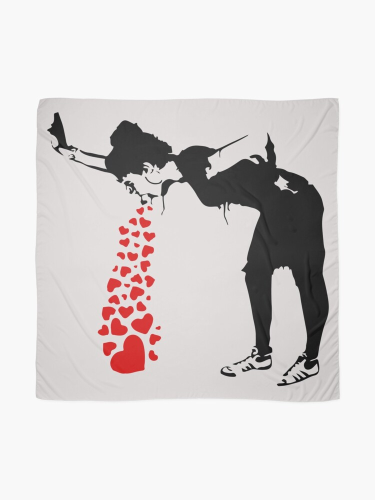 Alternate view of Lovesick - Banksy, Streetart Street Art, Grafitti, Artwork, Design For Men, Women, Kids Scarf