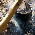 cooking in cauldron on open fire by mike-pellinni