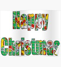 Canal flowers pattern happy christmas Poster