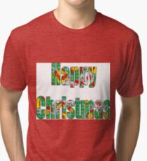 Canal flowers pattern happy christmas Tri-blend T-Shirt