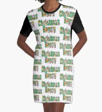 Canal flowers pattern happy christmas Graphic T-Shirt Dress