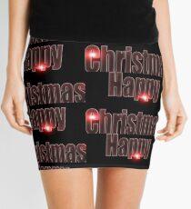 Happy Christmas glow red  Mini Skirt
