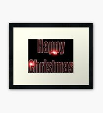 Happy Christmas glow red  Framed Print