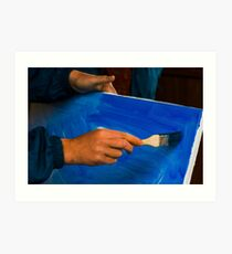 painter prepare canvas for drawing Art Print