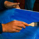 painter prepare canvas for drawing by mike-pellinni