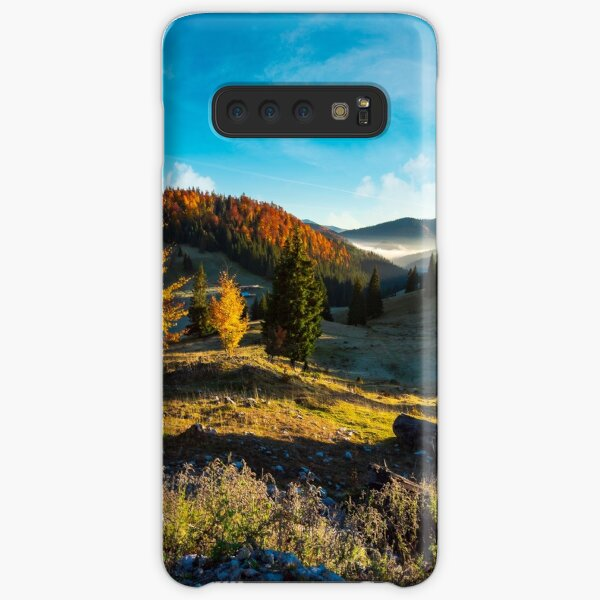 wonderful autumn sunrise with fog in the valley Samsung Galaxy Snap Case
