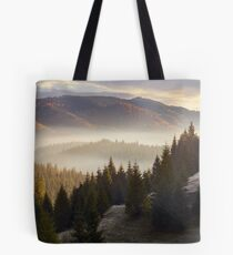 sea of fog in forested valley Tote Bag