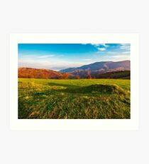 grassy meadow on hill side at sunrise in autumn Art Print