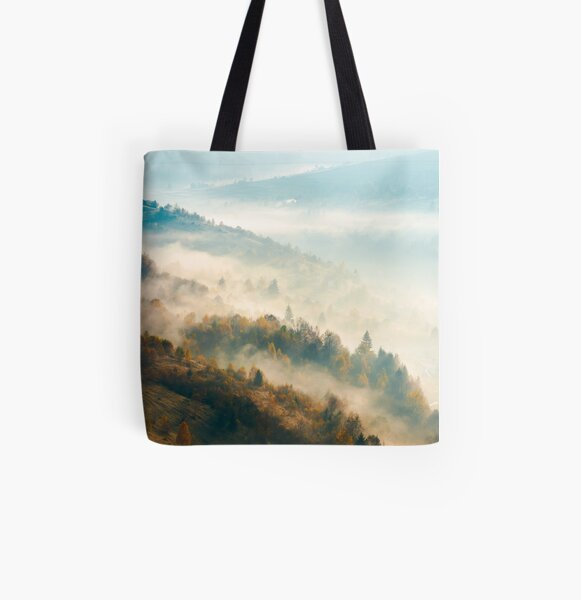beautiful foggy autumn background All Over Print Tote Bag