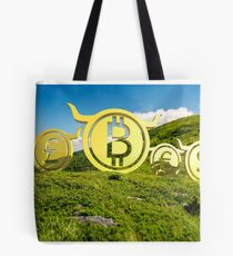 Currency coin race to the top Tote Bag