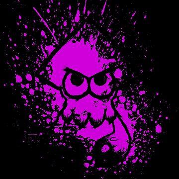 Splatoon Black Squid on Purple Splatter Mask by Ironmoth