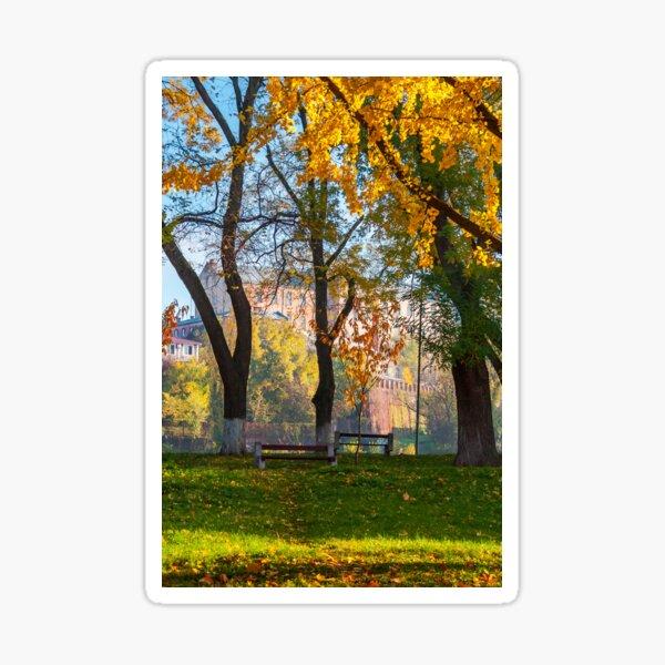 autumn park on Pravoslavna naberezhna Sticker