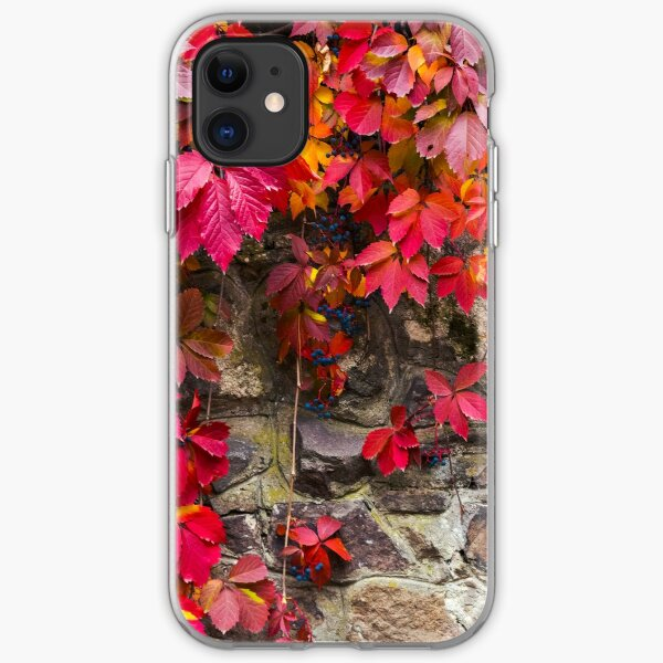 colorful texture of ivy plant on the stone wall iPhone Soft Case