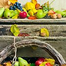 autumn still life with harvest in leaves by mike-pellinni