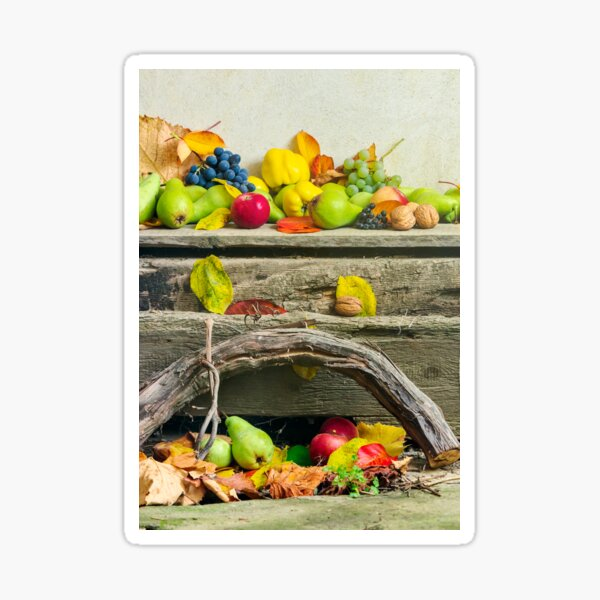 autumn still life with harvest in leaves Sticker